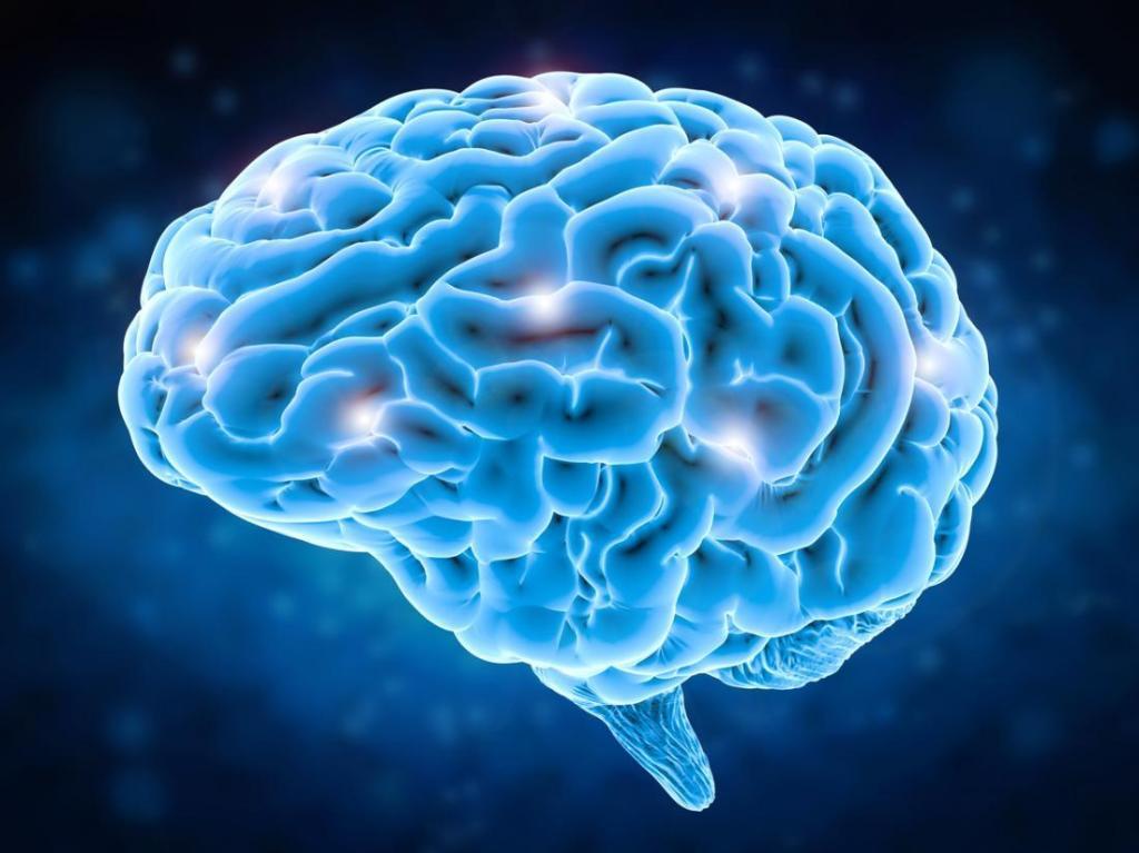 Imagem de um cérebro, azul